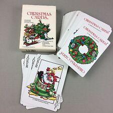 Christmas 1986 Deck of Cards 4 Suits Reindeer Snowman Elves Tree Vtg Poker Size