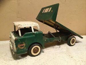 Vintage Ny-Lint Toys Pressed Steel Ford Cab Over Flat Bed Platform Tilt Truck