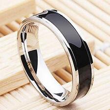 Fashion Jewelry Titanium Band Stainless Steel Black Ring Men Women Size 7 4mm