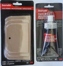 3M Bondo Plastic Metal 901 plus Plastic Spreaders 357 Combo