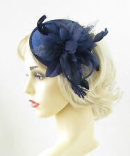 Navy Blue Feather Fascinator Headband Headpiece Races Flower Vintage Hair 951