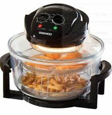 Low Fat Healthy DAEWOO 1.7L Halogen Air Fryer Black With Extender Ring
