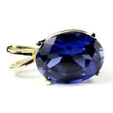 Created Blue Sapphire, 14KY Gold Pendant, P006