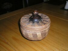 Unusual Vintage Asian WOVEN REED BOX & LID With TURNED WOOD PEDESTAL FOOT HANDLE