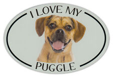 Oval Dog Breed Picture Car Magnet - I Love My Puggle - Bumper Sticker Decal
