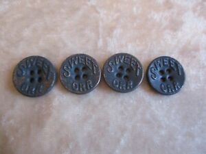 4 Antique Sweet Orr Painted Blue 4-Hole Metal Buttons