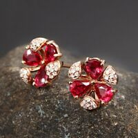 18K Gold Color Ruby Gemstone Stud Earrings 925 Sterling Silver UK Seller