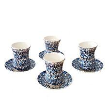 Arabo turco GRECO Marocchino design fatto a mano in ceramica 4 TEA CUP + PIATTINI i1