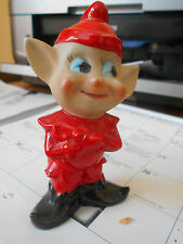 "4 1/2"" Pointed-Ear Elf, Red Suit, Marked Japan, Euc, Handpainted, Mischievious!"