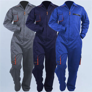 Mens Overalls Fit Solid Suit Coveralls Mechanics Repairman Jumpsuit Rompers New