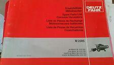 DEUTZ FAHR M2385 COMBINE PARTS CATALOGUE