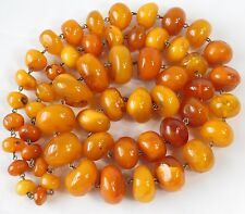 ATQ NATURAL Baltic Egg Yolk Amber Butterscotch Graduated Bead Necklace 150 grams