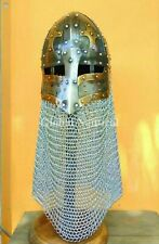Medieval Armor Helmet Vintage Battle Ready Armored Chain mail Helmet of Knights
