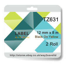 2 compatible with Brother TZ631 P-Touch 12mm x 8m Black on Yellow Label Tape