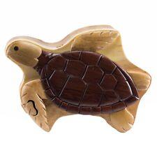 Wood Intarsia Sea Turtle Puzzle Box - Secret Trinket Box Inside! Handcrafted New