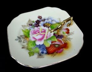 Vintage Candy Dish with Handle Hand Painted Pink Cabbage Rose Occupied Japan