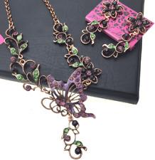 Retro Pendant Betsy Johnson Enamel Jewelry butterfly flower rhinestone necklace