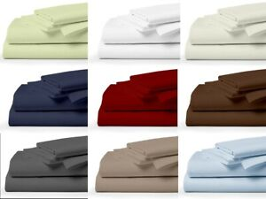 LUXURIOUS Solid Bedding Set 100% Egyptian Cotton 400 Tc Queen/King All Size