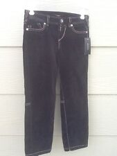 GUESS Jeans Woman Sz 24 Stretch Pants Black Velour Velvet Leg Zipper NEW NWT