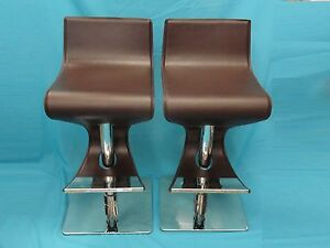 2x CHIC HIGH FASHION MODERN CHROME & HAND STITCHED ITALIAN LEATHER BAR STOOL