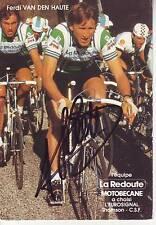 carte cycliste FERDI VAN DEN HAUTE équipe LA REDOUTE MOTOBECANE 1982 signée