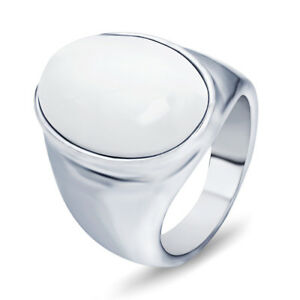 White/Red/Coffee Opal Stainless Steel Men's Wedding Party Gothic Ring Size 7-12