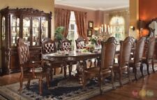 """Vendome Luxury Traditional 10 Piece Formal Dining Set 94"""" - 136"""" Table w/ Buffet"""