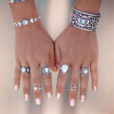 7Pcs Vintage Opal Knuckle Ring Set Boho Geometric Pattern Ring Banquet Jewelry