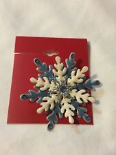 Snowflake Brooch Pin Jewelry Christmas Holiday Blue White Glitter