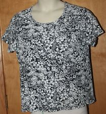 WOMEN'S WHITE STAG BLOUSE PLUS 20 BLACK SHORT SLEEVES FLORAL PULL-OVER COTTON