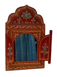 Moroccan Wall Mirror w/Doors Hand Painted Arabesque Handmade Home Decor Red