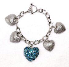 ED4B Heart Teal Turquoise Green Blue Crystal Charm Bangle Bracelet