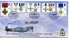 Battle of Britain OFFICIAL fdc 1990 SIGNED Wing Commander David Moss