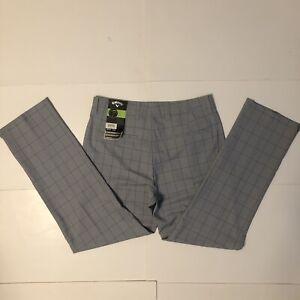 NWT Callaway Mens Golf Pants, 32x30, Grey Checks, Opti Stretch, Shield, Dri