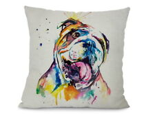 Showy English Bulldog dog art printed on cushion cover abstract Bulldog Hund can