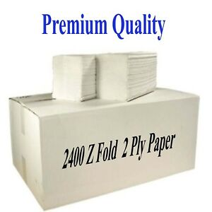 Z Fold Paper Hand Towels 2400 Per Box Industrial Washroom Luxury 2Ply White