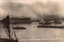Launch of HMS Thunderer 1911 London Naval Battleship unused RP old pc