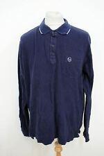 SERGIO TACCHINI Men's Dark Navy Blue Long Sleeved Collared Polo Shirt XXL