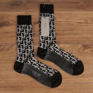 DIOR 330$ Oblique Socks In Black, Gray and Brown Stretch Cotton Jacquard