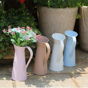 Vintage Shabby Chic Flower Vase Tin Pitcher Jug Metal Wedding Home Decor 20TU