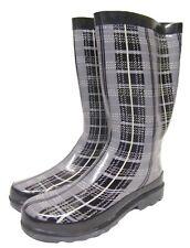 Womens Ladies Grey Tartan Print Wellington Wellies Boots UK Size 7/40