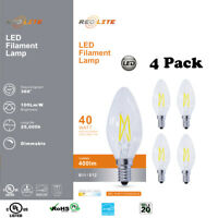 4-PACK 4W 40W Equivalent Dimmable LED Light Bulb B11 Candelabra Base Warm White