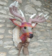 Handmade faux taxidermy stag Harris tweed multi check deer wall mounted trophy