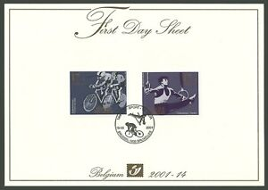 BELGIUM 2001 SPORT CYCLING GYMNASTICS LUXURY FIRST DAY SHEET FDC