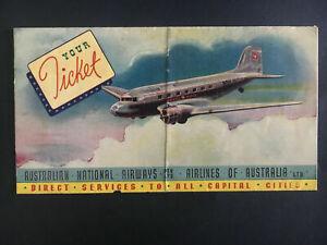 1944 Australia National Airways Ticket Holder DC 3 Mail Plane