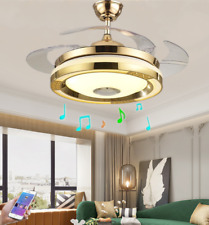 """New Listing42"""" Bluetooth Music Player Ceiling Fan Light Led 3Color Change Chandelier+Remote"""
