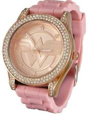 Wonder Woman Rhinestone Accented Rose Gold Tone Watch with Pink Rubber Strap