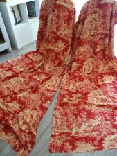 2 French antiques curtains Toile de Jouy Country decor and village dance