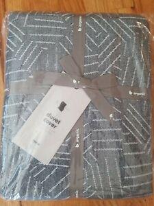 West Elm Organic Flannel Duvet Cover Toss Herringbone NWT Twin