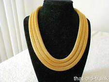 VINTAGE MONET 3 STRAND GOLD PLATED MESH COLLAR BIB NECKLACE 138 GRAMS